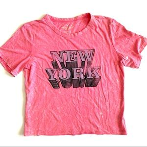 New York pink cropped tee
